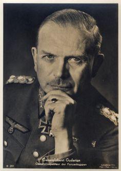A wartime German collector postcard of Generaloberst Heinz Guderian, via Film-Foto-Verlag German Soldiers Ww2, German Army, Military Careers, Military History, Ww2 History, Heinz Guderian, Germany Ww2, The Third Reich, Panzer