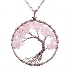 SEDMART  Crystal Natural Stone Tree Of Life Pendant  Necklace For Women