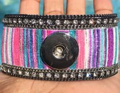 Purple's Paradise Material Cuff Silver 1 Button by ArmCandyCompany