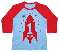 Boys first birthday tshirt Red Rocket American Apparel Raglan 3/4 Sleeve t-shirt on Etsy, $20.50 CAD