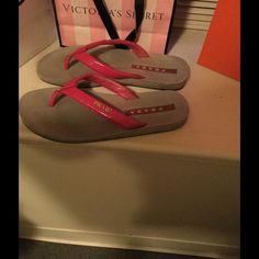 Authentic Prada Flip Flops Very cute comfortable *Worn In* Prada flip flops*need to be cleaned* Prada Shoes Sandals