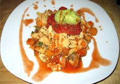 Tex Mex Tofu Scramble: Onions, bell peppers, sweet potatoes and mushrooms are sautéed then seasoned with paprika, garlic, chili powder and cumin in this flavorful breakfast. Savory Breakfast, Breakfast Recipes, Tofu Scramble, Stuffed Mushrooms, Stuffed Peppers, Meatless Monday, Tex Mex, Recipe Of The Day, Spicy