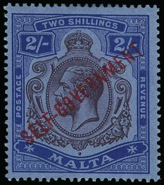 "Philasearch.com - Malta, Scott 82, SG 111. 82 (111) 1922 2' purple and blue on blue K George V overprinted ""SELF-GOVERNMENT"" (SG Type 20), wmkd MCA, perf 14, OG,NH, VF  Erhaltung **  Anbieter Colonial Stamp Company  Saalauktion Ausruf: 295.00 US$ (ca. 234 EUR)"