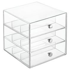 mDesign Stackable Plastic Eye Glass Storage Organizer Box Holder for Sunglasses, Reading Glasses, Accessories - 3 Divided Drawers, Chrome Pulls - Clear Office Supply Organization, Storage Organization, Makeup Storage, Storage Ideas, Household Organization, Craft Storage, Wash Tape, Washi Tape Storage, Organizer Box