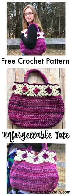 FREE CROCHET pattern - easy - The Unforgettable Tote combines granny squares with post crochet stitches to create a unique and classic design. 16 wide, tall (not including handles), and deep Crochet Purse Patterns, Crochet Tote, Crochet Handbags, Crochet Purses, Crochet Crafts, Free Crochet, Knit Crochet, Crochet Ideas, Crochet Granny