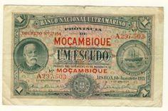 Banco Nacional Ultramarino 1921 Mozambique UM Escudo with  DECRETO  VF condition