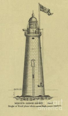 Drawing - Minot's Ledge Lighthouse by Jerry McElroy , Lighthouse Drawing, Lighthouse Art, Photography Institute, Beacon Of Light, Interesting History, Windmill, The World's Greatest, Photo Library, Fine Art America