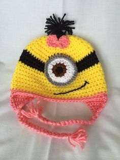 Minion Hat with Bow Despicable Me Hat Girls Crochet Hat by LiddieBoutique