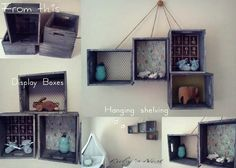 Our ideas for box crates - hanging shelves or display boxes  www.rubysnest.co.nz