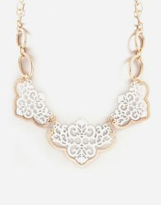 Reagan Necklace in Gold on White Filigree