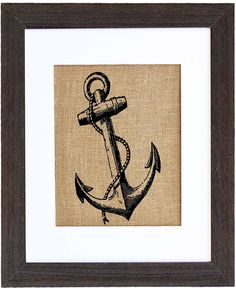 Vintage Anchor burlap art natural home decor by Fiber and Water || home and hearth, nautical, for the kitchen, living room, bedroom decor