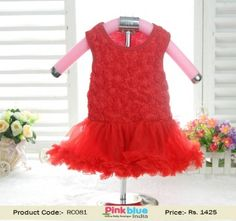 9240e1c3992 Cute Partywear Baby Romper in Red for Indian Girls