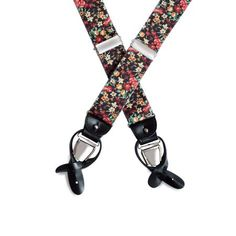 Black Barathea Suspenders (Orange/Red/Green Floral) with Combination Ends