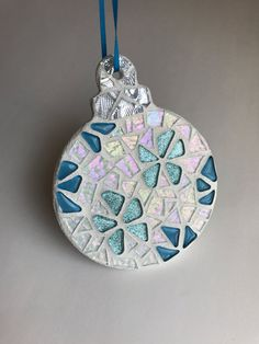 Stained Glass Mosaic Christmas Ornament Stained by BlueOceanGlass