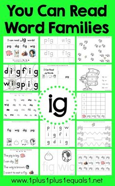 You Can Read Word Families -Free IG Word Family Printables (post includes AT and ET Word Family Printables, too) from Word Family Activities, Cvc Word Families, Reading Lessons, Teaching Reading, Guided Reading, Word Study, Word Work, Family Worksheet, Homeschool Kindergarten