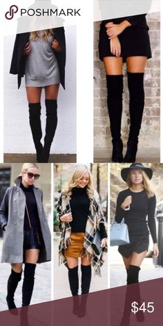 New Women's Black Above The Knee Suede Boots New Women's Suede Black Over The Knee High Boots Black Suede Heel (about 2 1/2 inches) Above knee boots (size 8 is about 25 1/2 inches from the bottom of heel to the top) (size 7 is about 24 1/2 inches) (size 6.5 is about 24 inches) Half Zipper on the side Box is not included ✔️Will ship between 1-3 days!!! ✔️Firm Price ✔️Discount with bundles Shoes Over the Knee Boots