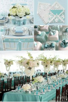 I like the shape and drape of the centerpieces. I like the beautiful mini cakes. I like the lace covered envelopes. This whole pin is great'