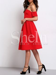 Shop Red Short Sleeve Off The Shoulder Dress online. SheIn offers Red Short Sleeve Off The Shoulder Dress & more to fit your fashionable needs.