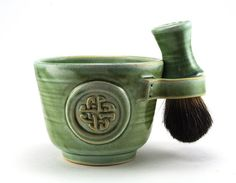 Celtic Knot Shaving Set:  Green Shave Mug, Black Badger Hair Shave Brush, Shave Soap, Irish, Celts, Fathers Day Gift by MiriHardyPottery on Etsy, $78.00