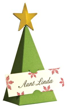 Christmas tree favor box and place setting name holder for Place settings name card holders