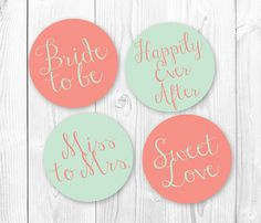 Bridal Shower Cupcake Toppers - Mint & Coral. DIY Printable Cupcake Topers. INSTANT DOWNLOAD