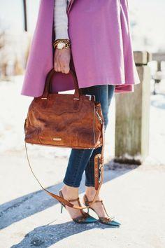 pink cape, blue heels
