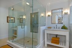 although contemporary in application, you get the idea of what a U shaped frameless tub/shower enclosure would look like