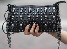 Skulls Studs Clutch Bag Black