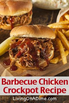 Buy Barbeque Pulled Pork Sandwich by on PhotoDune. Barbeque Pulled Pork Sandwich with BBQ Sauce and Fries Crockpot Dishes, Crock Pot Slow Cooker, Crock Pot Cooking, Slow Cooker Recipes, Crockpot Recipes, Cooking Recipes, Chicken Recipes, Chicken Meals, Barbeque Pulled Pork