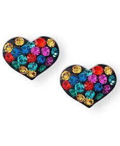 Unwritten Sterling Silver Earrings, Multicolor Crystal Heart Stud Earrings