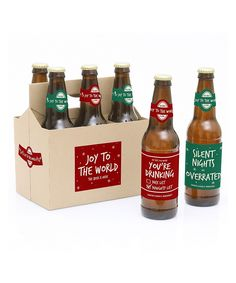 Red & Green Personalized Bottle Sticker & Carrier – Set of Six
