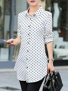 Polka Dot Curved Hem Turn Down Collar Blouse Top Modest Fashion, Fashion Dresses, Fashion Clothes, Cheap Fashion, Sexy Dresses, Cheap Dresses, Womens Fashion, Cheap Womens Tops, Pants For Women