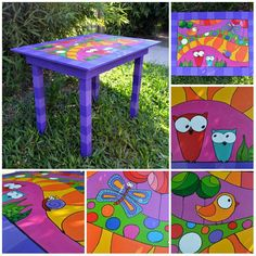 Mesitas coloridas Painted Wooden Chairs, Funky Painted Furniture, Recycled Furniture, Diy Furniture, Painting Kids Furniture, Diy Painting, Painted Teacher Chair, Painting Teacher, Painted Clay Pots