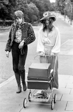 Classic Photo: David and Angie Bowie taking their then 3-week-old baby Zowie out for a walk in 1971