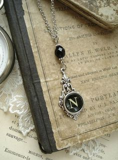 Typewriter Key Jewelry  Letter N Necklace by PreciousPastimes, $44.50