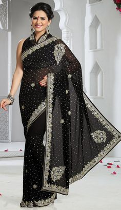 Embroidered Saree in Black Saree, Chiffon Saree, Embroidered Saree Eid Outfits, Indian Outfits, Indian Clothes, Indian Beauty Saree, Indian Sarees, Saree Trends, Desi Wear, Black Saree, Chiffon Saree