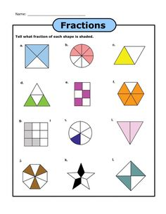 worksheets fractions of shapes Fractions Of Shapes, Math Fractions Worksheets, Learning Fractions, Simplifying Fractions, Shapes Worksheets, Maths, Kids Worksheets, Multiplication, Comparer Des Fractions