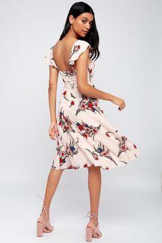 Take a Bow-quet Blush Floral Print Midi Dress 3