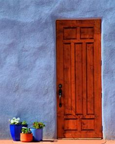 Door and flowers at Abiquiu, New Mexico.