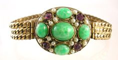 Victorian Revival Green Cabochon Bracelet by worn2perfection