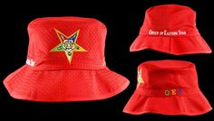 08a9b5d7db834 Order of the Eastern Star OES Floppy Mesh Bucket Hat- Red - Brothers and  Sisters. Brothers and Sisters  Greek Store