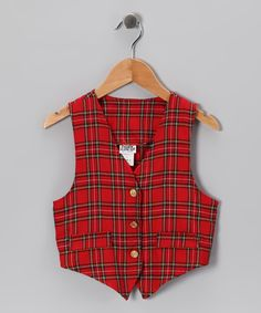 2be884ddd79 Baby plaid! Red Plaid Vest by C.I Castro on  zulily Plaid Vest