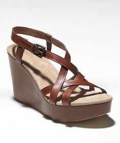 Stacked Leather Wedge: FOOTWEAR | Free Shipping at L.L.Bean -  Love these!