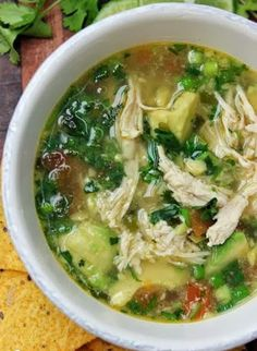 Chicken Avocado Soup, needs cheese and to be cooked the day before.. maybe some jalapano or green chili for kick..