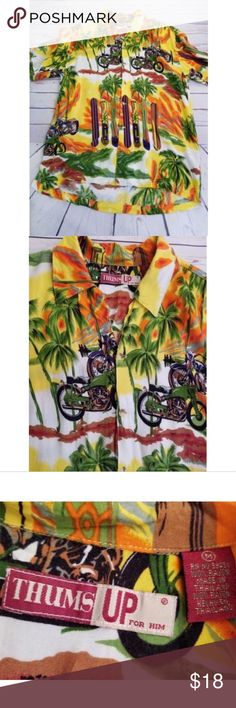 Thumbs Up Hawaiian Shirt Mens Size Med Palm Trees Thumbs Up Hawaiian Shirt Mens Size Med Palm Trees Surf Boards Beach Short Sleeve  Excellent condition. Very clean and smoke free. No rips, tears or stains.   MEASUREMENTS: SEE PHOTOS Thumbs Up Shirts Casual Button Down Shirts