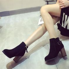 Chunky Heel Buckle Zipper Ankle Casual British Style Boots For Women - Gchoic.com #shoes #fashion #boots #popular #discount #cheap #under20 #warm #winter