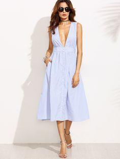 Blue Striped Buttons Deep V Neck Sleeveless Dress