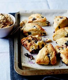 Blueberry and buttermilk scones with honeycomb butter
