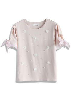 Pearly Flowers Pink top - Short Sleeve - Tops - Retro, Indie and Unique Fashion