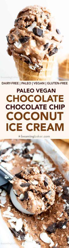 No Churn Chocolate Chocolate Chip Coconut Vegan Ice Cream (Paleo, V, GF): a 7 ingredient, no churn recipe for creamy, rich and chocolatey ice cream bursting with coconut flavor. #Vegan #Paleo #GlutenFree #DairyFree | Recipe on BeamingBaker.com